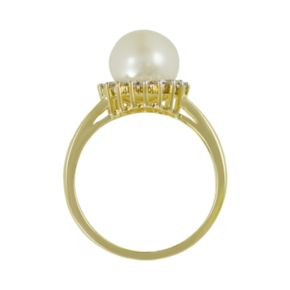 10k Gold .18-ct. T.W. Diamond and Freshwater Cultured Pearl Ring