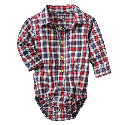 OshKosh B'gosh Plaid Button-Down Bodysuit - Baby