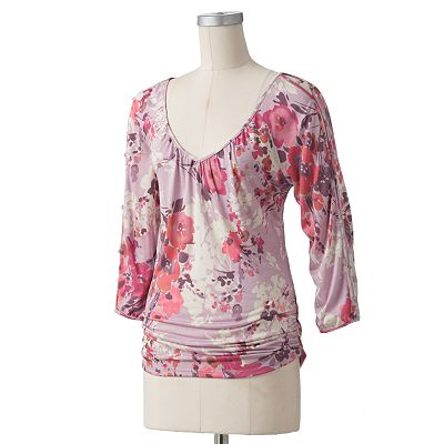 LC Lauren Conrad Floral Ruched Top