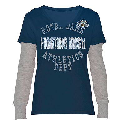 Notre Dame Fighting Irish Run and Shoot Mock-Layer Tee