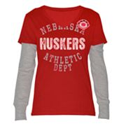 Nebraska Cornhuskers Run and Shoot Mock-Layer Tee