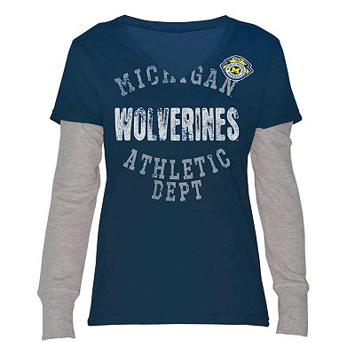 Michigan Wolverines Run and Shoot Mock-Layer Tee