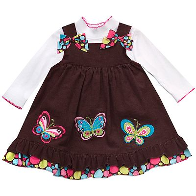 Rare Editions Butterfly Corduroy Jumper and Tee Set - Toddler