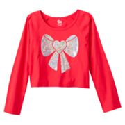 SO Sequined Bow Dolman Crop Top - Girls Plus