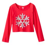 SO Sequined Snowflake Dolman Crop Top - Girls Plus