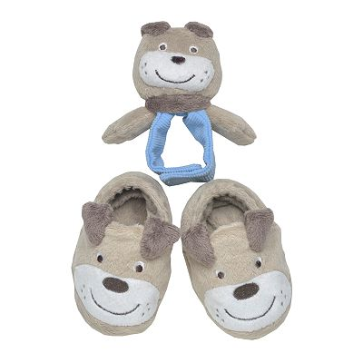 Carter's Puppy Bootie and Rattle Set