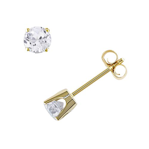 10k Gold Lab-Created White Sapphire Solitaire Earrings