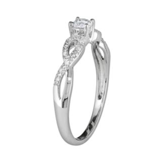 Sterling Silver Lab-Created White Sapphire and Diamond Accent Infinity Ring