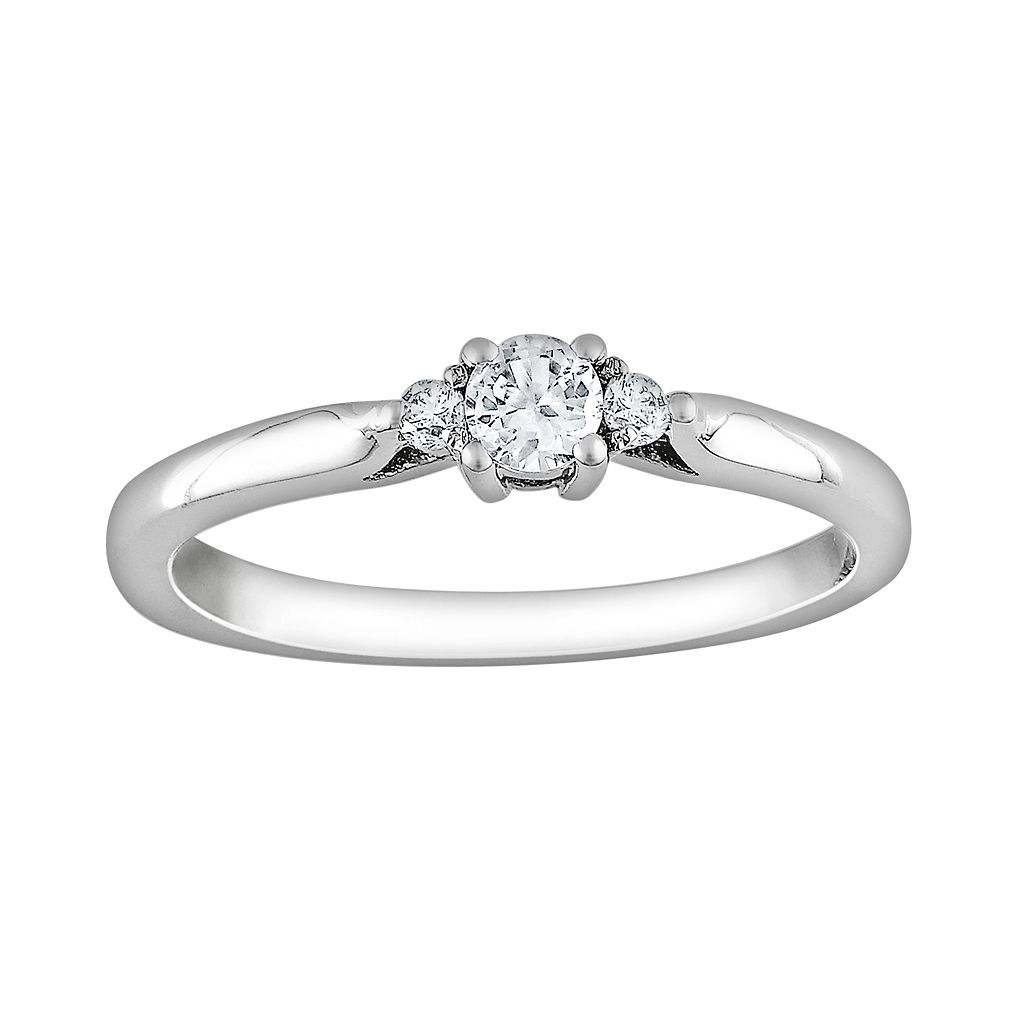Sterling Silver Lab-Created White Sapphire & Diamond Accent Ring