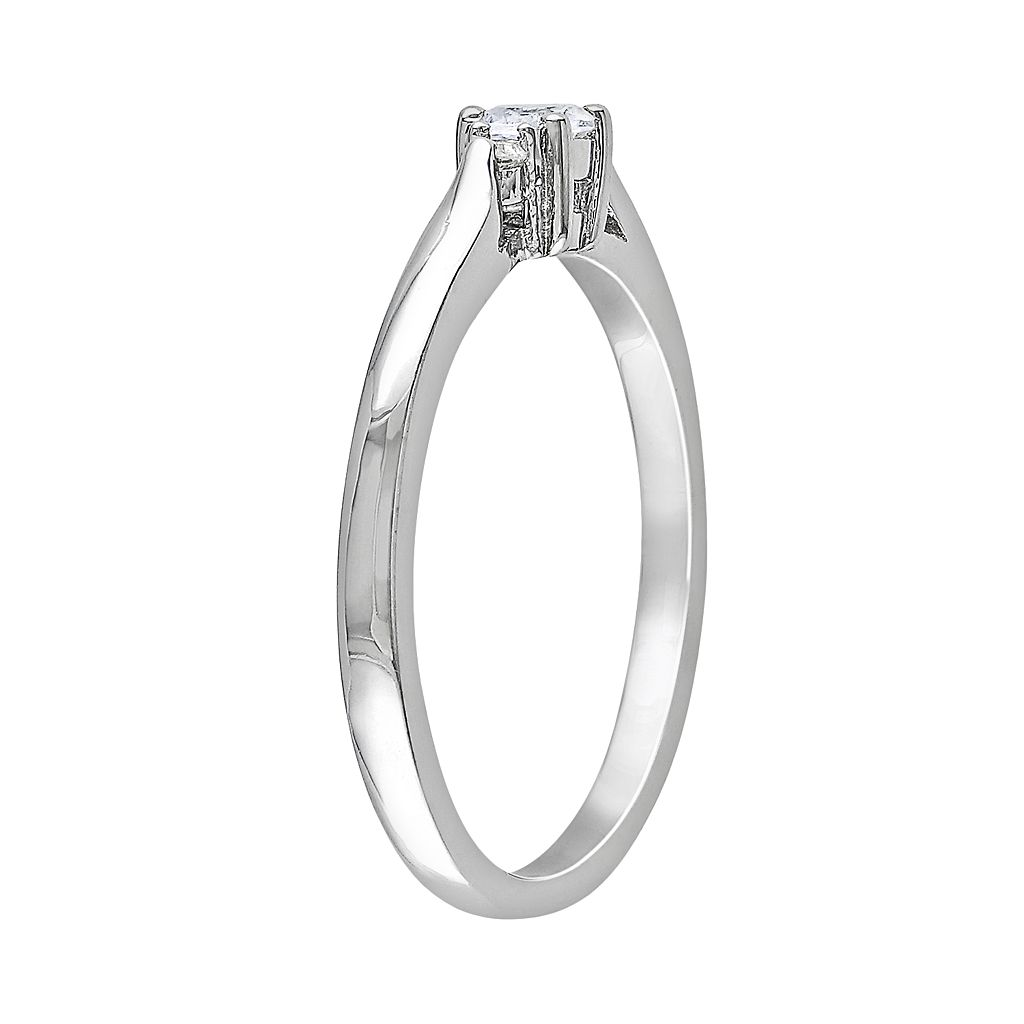 Sterling Silver Lab-Created White Sapphire and Diamond Accent Ring