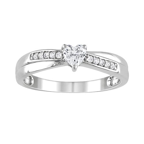 Sterling Silver Lab-Created White Sapphire & Diamond Accent Crisscross Heart Ring