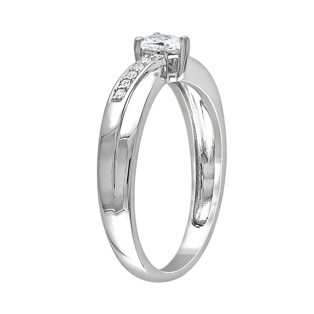 Sterling Silver Lab-Created White Sapphire and Diamond Accent Crisscross Heart Ring