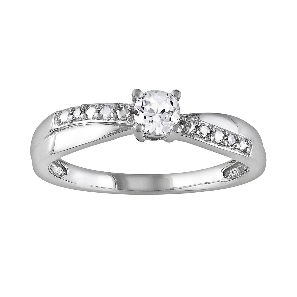 Sterling Silver Lab-Created White Sapphire & Diamond Accent Crisscross Ring