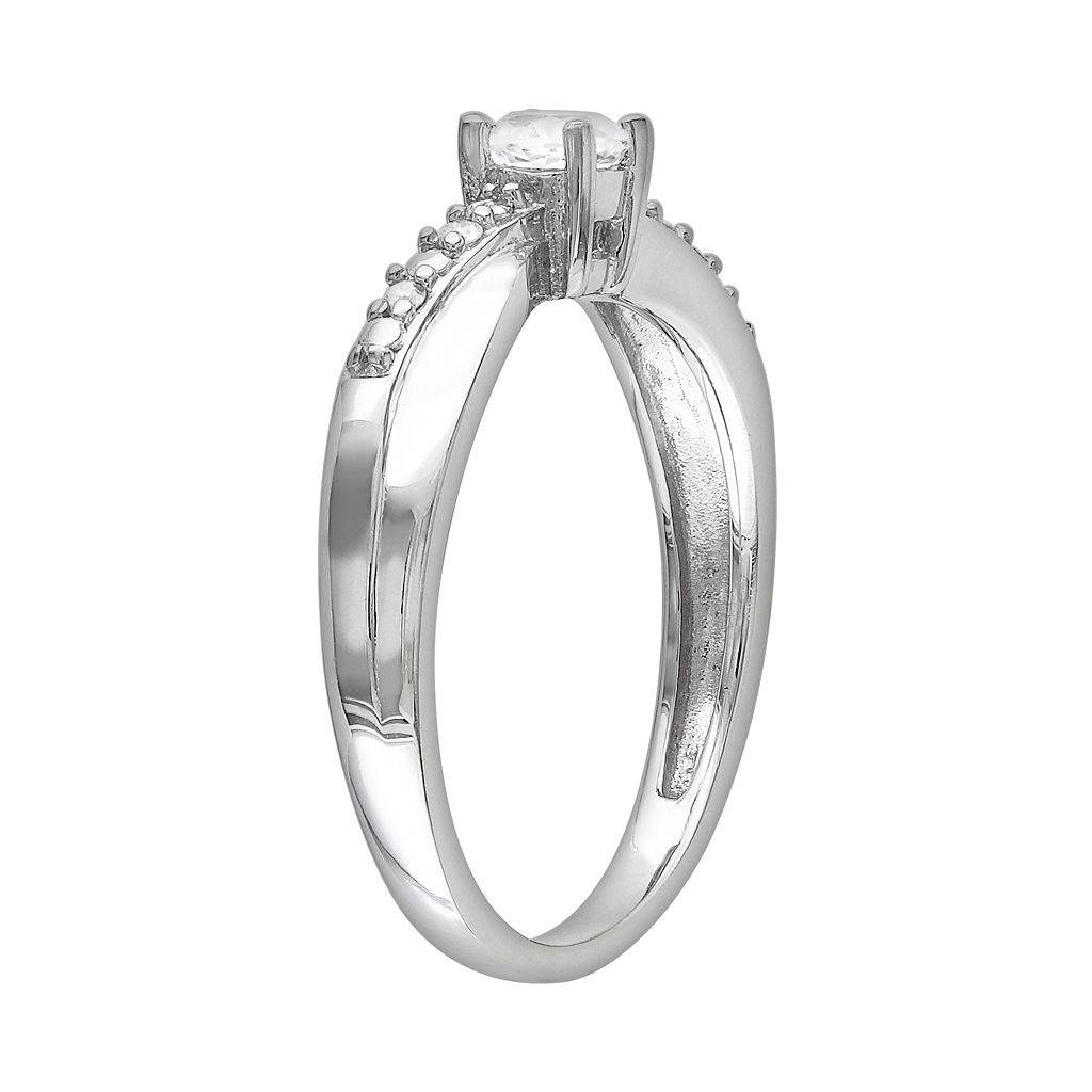 Sterling Silver Lab-Created White Sapphire and Diamond Accent Crisscross Ring
