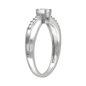 Stella Grace Sterling Silver Lab-Created White Sapphire and Diamond Accent Crisscross Ring