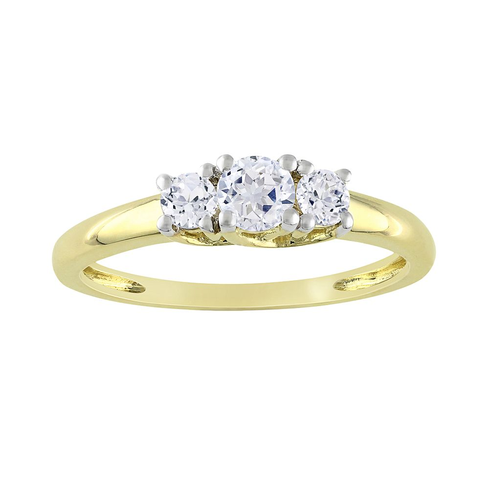 Lab-Created White Sapphire Engagement Ring in 10k Gold