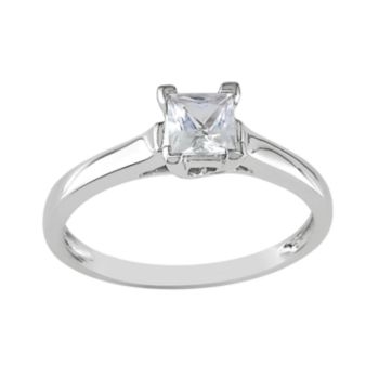 10k White Gold Lab Created White Sapphire Solitaire Engagement Ring