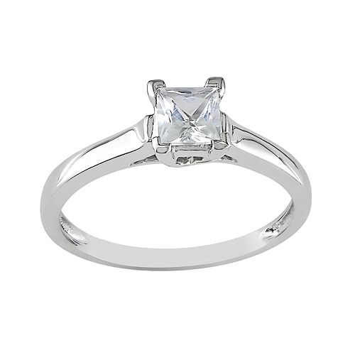 Stella Grace 10k White Gold Lab-Created White Sapphire Solitaire Engagement Ring