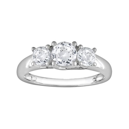 Lab-Created White Sapphire Engagement Ring in 10k White Gold