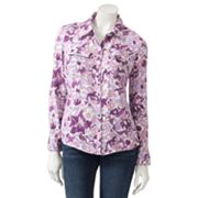 Croft and Barrow Floral Twill Shirt - Petite