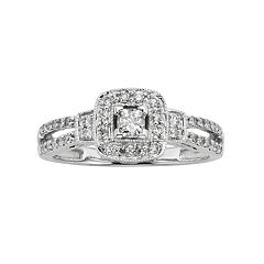 Princess-Cut IGL Certified Diamond Frame Engagement Ring in 10k White Gold (1/2 ctT.W.)