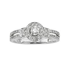 Round-Cut IGL Certified Diamond Frame Engagement Ring in 10k White Gold (1/2 ctT.W.)