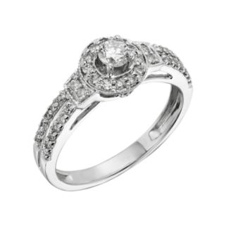 Round-Cut IGL Certified Diamond Frame Engagement Ring in 10k White Gold (1/2 ct. T.W.)