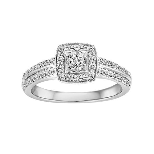 Princess-Cut IGL Certified Diamond Frame Engagement Ring in 10k White Gold (1/2 ct. T.W.)