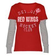 Detroit Red Wings Run and Shoot Mock-Layer Tee
