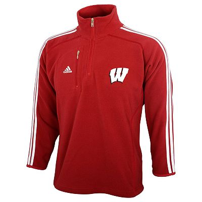adidas Wisconsin Badgers 1/4-Zip Microfleece Jacket - Boys 4-7