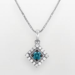 Sterling Silver 1/2-ct. T.W. Blue & White Diamond Frame Pendant