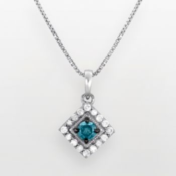 Sterling Silver 1/2-ct. T.W. Blue and White Diamond Frame Pendant