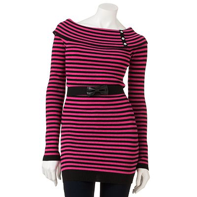 Candie's Striped Rhinestone Tunic Sweater - Juniors
