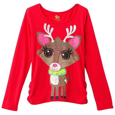 SO Sequined Shirred Reindeer Tee - Girls 7-16