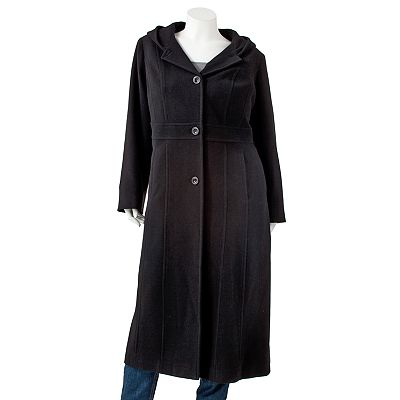 Bromley Hooded Long Wool Coat - Women's Plus