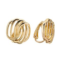 Napier Gold Tone Swirl Stud Clip-On Earrings