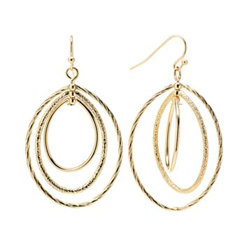 Napier Gold Tone Textured Oval Drop Earrings