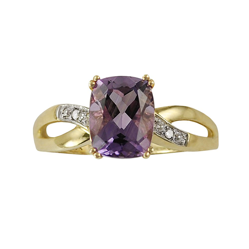10k Gold Amethyst & Diamond Accent Ring