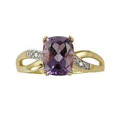 10k Gold Amethyst & Diamond Accent Ring