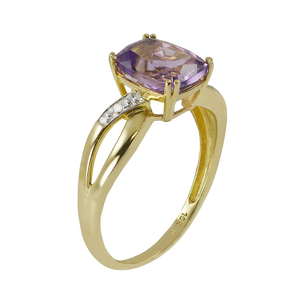 10k Gold Amethyst and Diamond Accent Ring