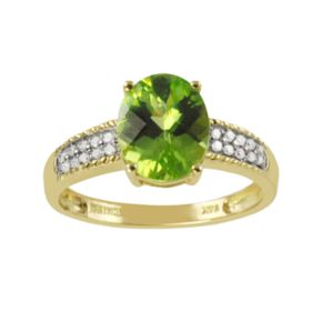 14k Gold Peridot & 1/10 Carat T.W. Diamond Ring