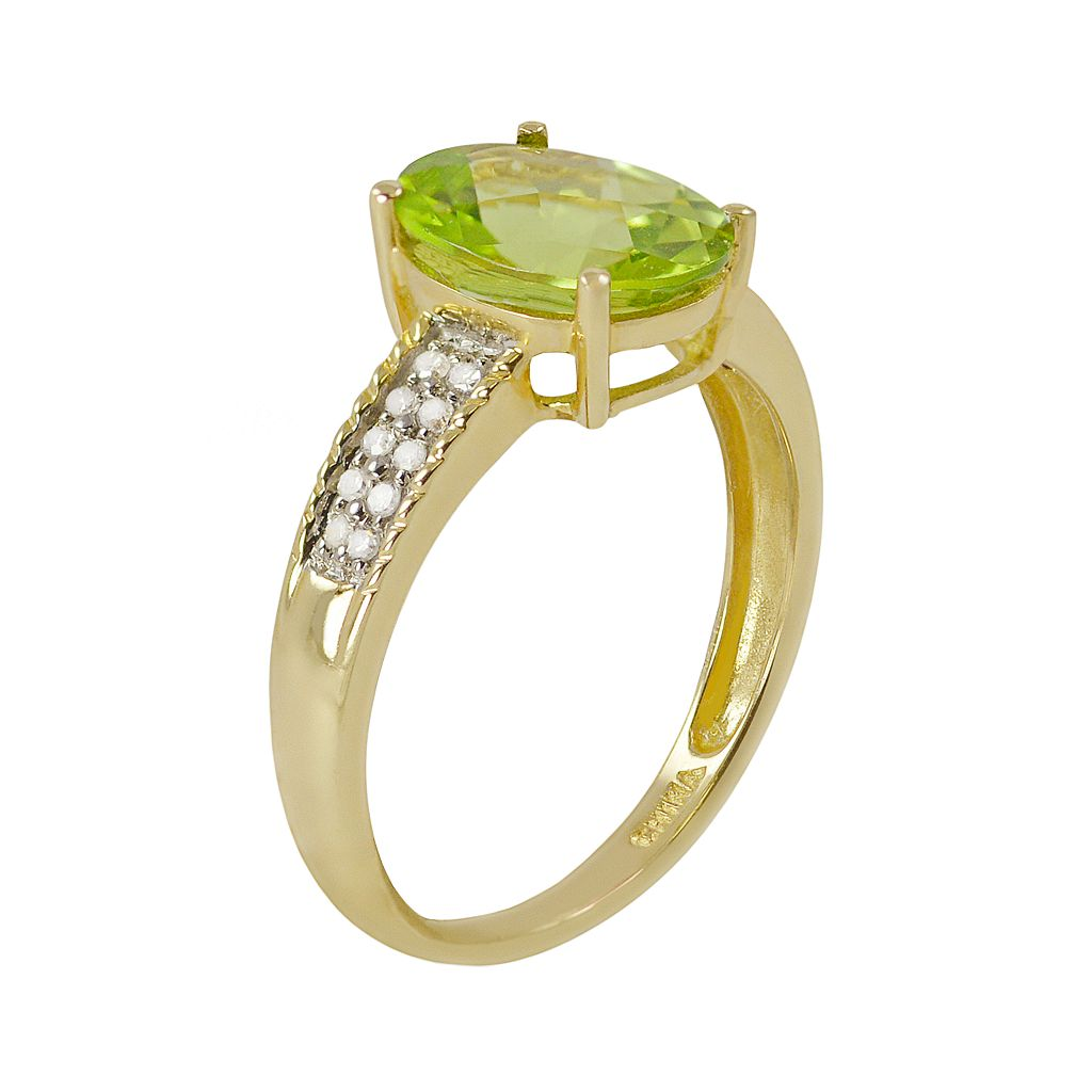 14k Gold Peridot & 1/10 Carat T.W. Diamond Ring