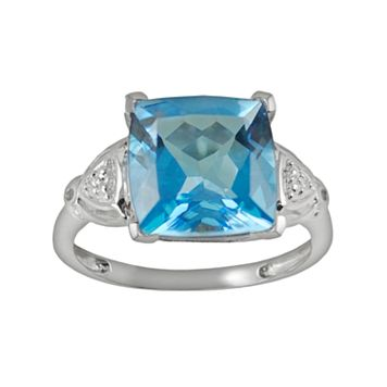 10k White Gold Swiss Blue Topaz & Diamond Accent Ring