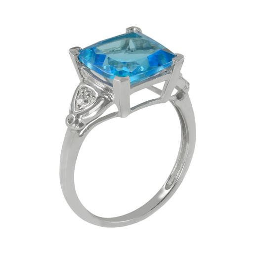 10k White Gold Swiss Blue Topaz and Diamond Accent Ring