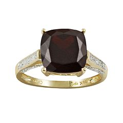 14k Gold Garnet & Diamond Accent Ring