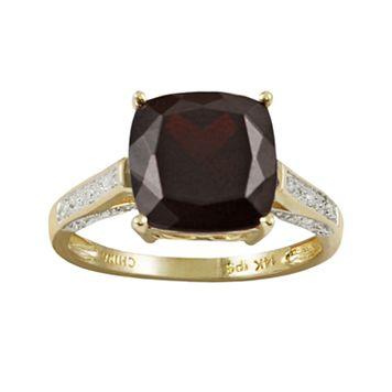 14k Gold Garnet & Diamond Accent Ring
