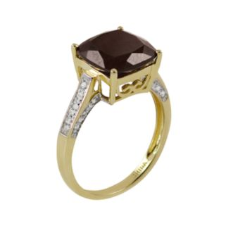 14k Gold Garnet and Diamond Accent Ring