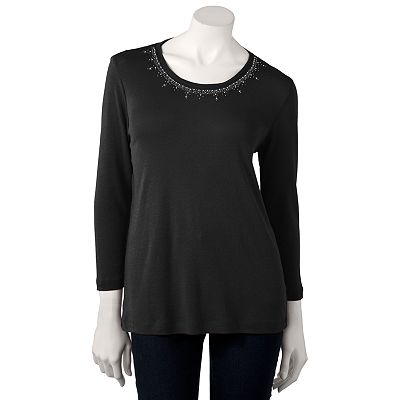 Croft and Barrow Lurex Embellished Top