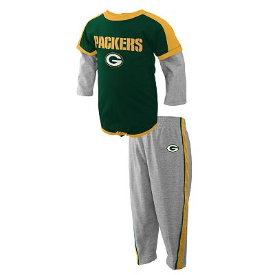Green Bay Packers Mock-Layer Creeper and Pants Set - Baby