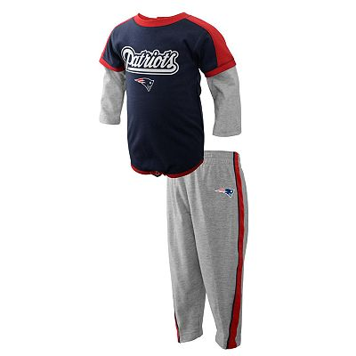 New England Patriots Mock-Layer Creeper and Pants Set - Newborn